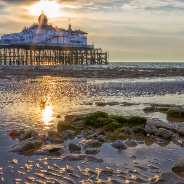 """Eastbourne Pier from the Beach at Sunrise"" stock image"