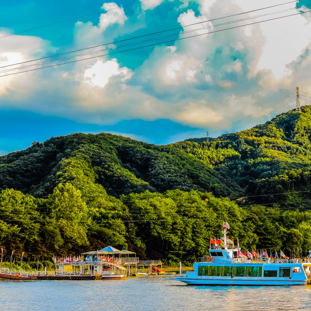 """""""Blue Sky and Green Mountain of Nami Island's Pier in South Korea"""" stock image"""