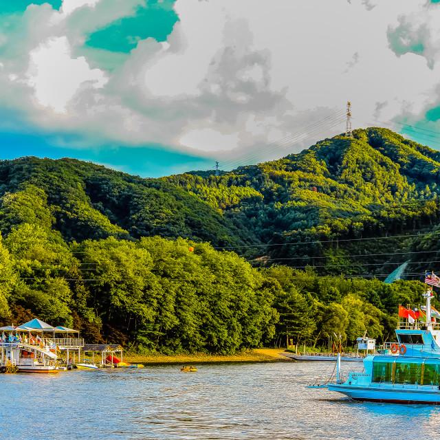 """Ferry to Nami Island in South Korea"" stock image"