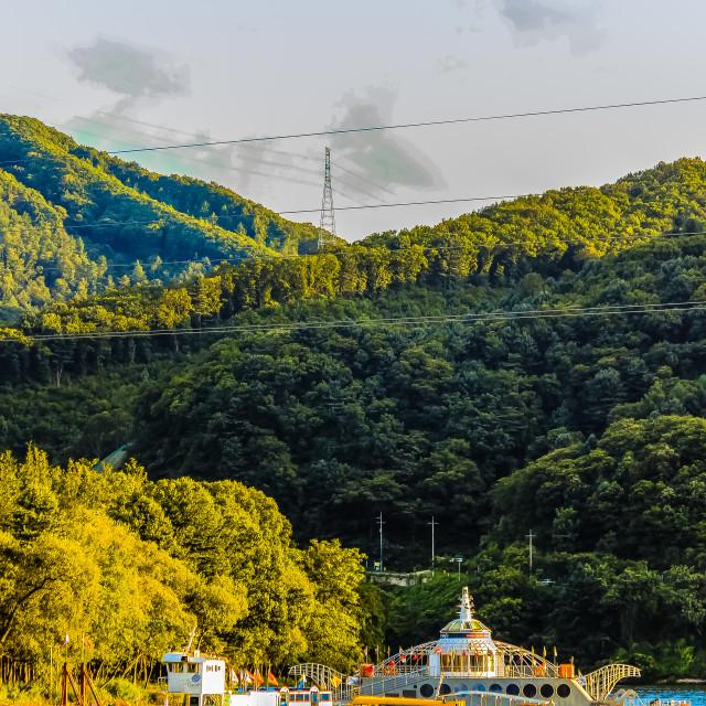 """""""Ferry to Nami Island Korea"""" stock image"""
