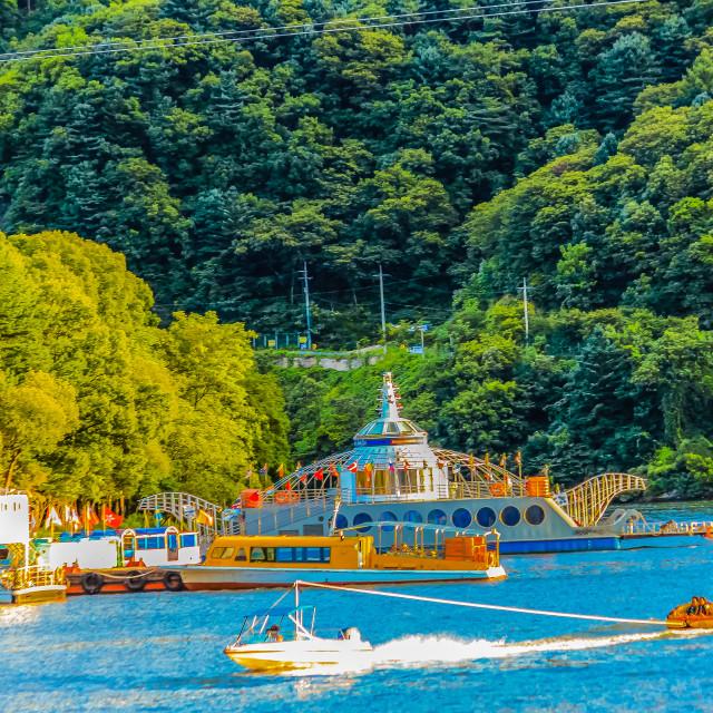 """""""Ferry to Nami Island South Korea"""" stock image"""