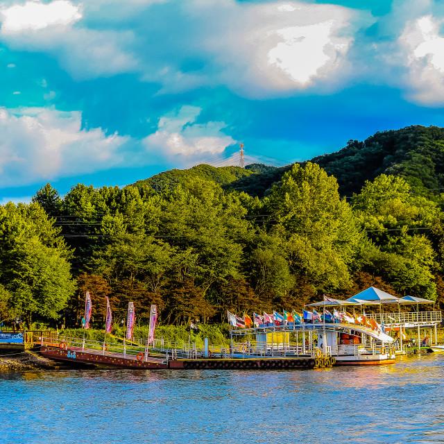 """""""Nami Island Pier in Blue Sky"""" stock image"""