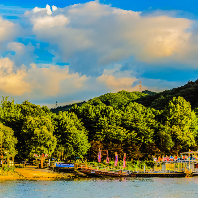 """""""Nami Island's Pier in the Cloudy Day"""" stock image"""