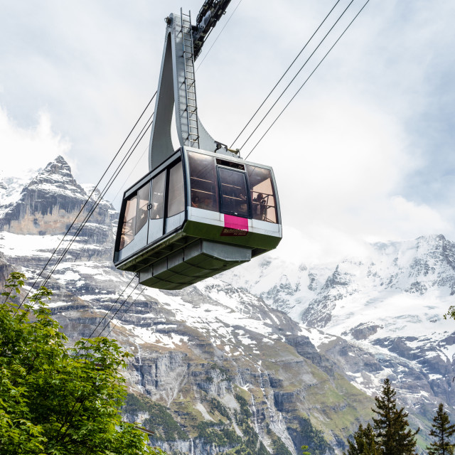 """Cable Car to Schilthorn, Bernese Oberland"" stock image"