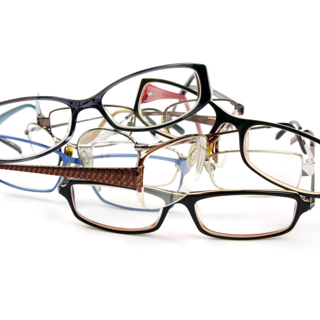 """old reading glasses in a pile"" stock image"