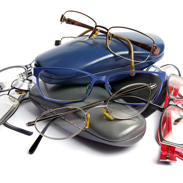 """reading glasses and glass cases"" stock image"
