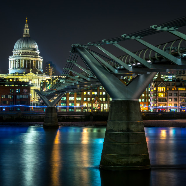 """""""Millennium bridge and St Paul's Cathedral"""" stock image"""