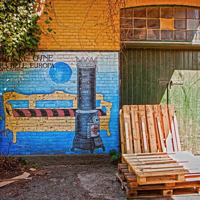 """Copenhagen, freetown Christiania - graffiti on industrial building facade"" stock image"
