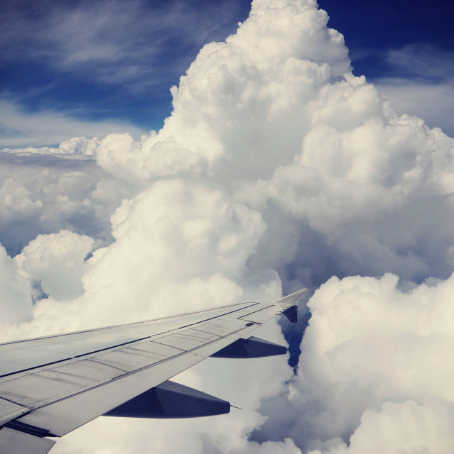 """Aerial view of beautiful cumulus against blue sky"" stock image"