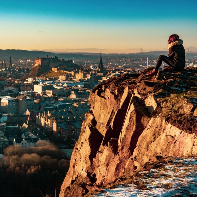 """Edinburgh Girl At Sunset"" stock image"