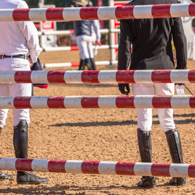 """Show Jumping Riders Course Check"" stock image"