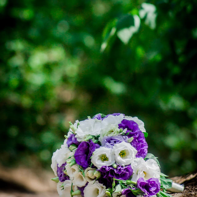 """beautiful modern wedding bouquet on white table"" stock image"