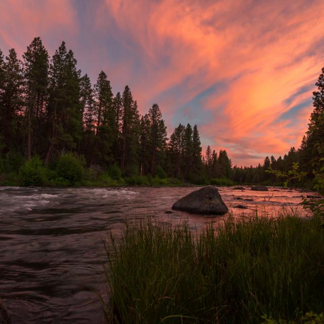 """""""Deschutes River at Sunset"""" stock image"""