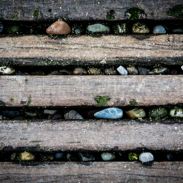 """""""Stones Wedged In Pier Panels"""" stock image"""