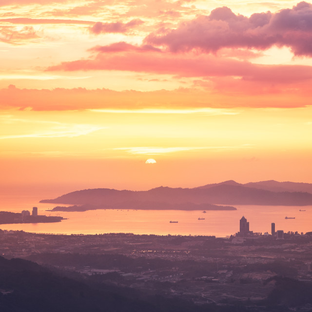 """Kota Kinabalu at sunset"" stock image"