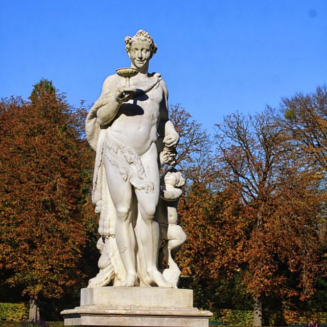 """MUNICH, GERMANY - Statue of Roman god of wine Bacchus"" stock image"