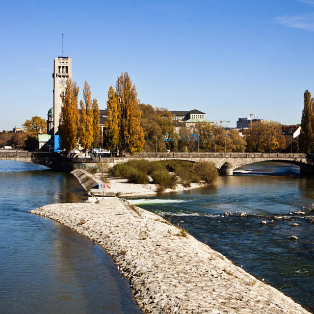 """""""autumnal view of the blue waters of Isar river in Munich"""" stock image"""