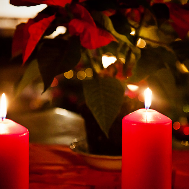 """""""Chrismas eve at home, red candles"""" stock image"""