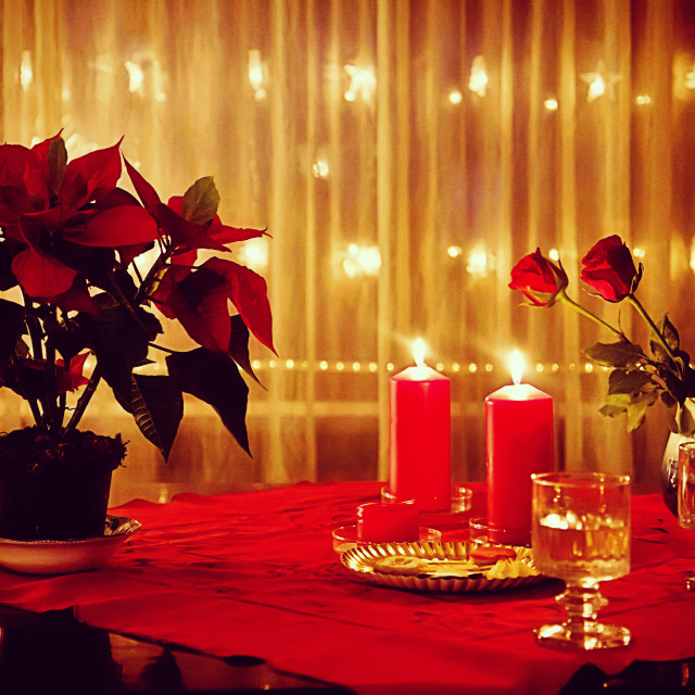 """""""Christmas at home, red decorations and illuminated window"""" stock image"""