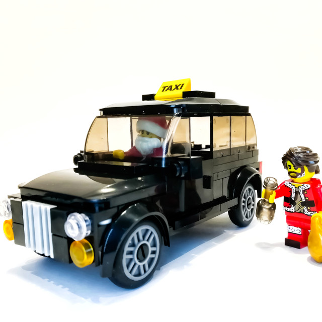 """Taxi for Santa"" stock image"