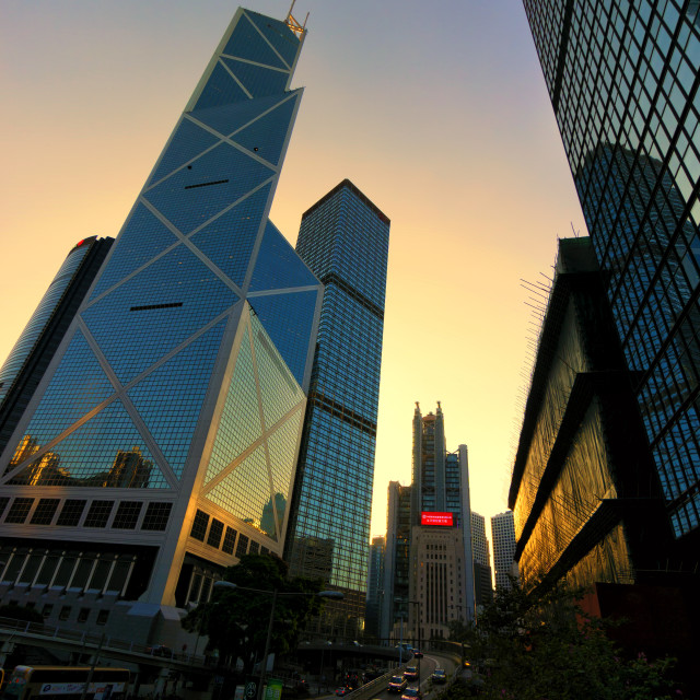 """Sunset Glow in Central: Hong Kong"" stock image"