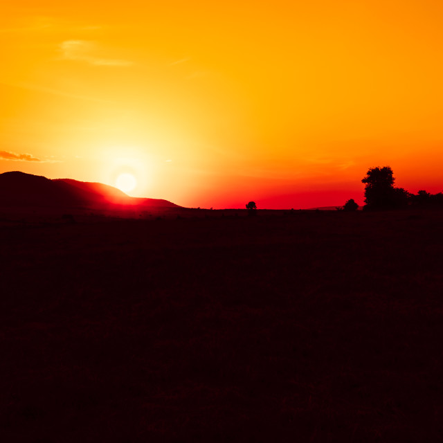 """""""Sunrise over the Maasai Mara"""" stock image"""