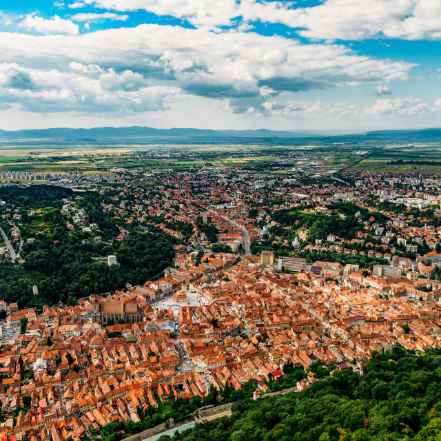 """Aerial View Of Brasov City In Romania"" stock image"
