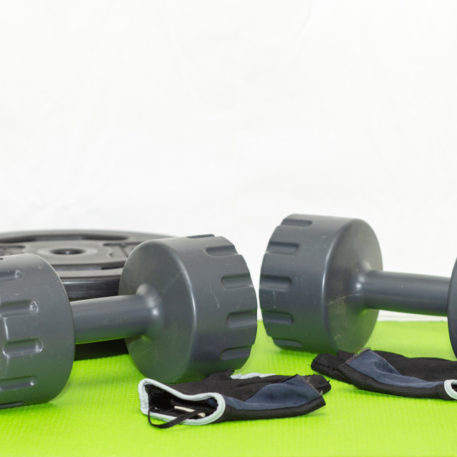 """""""Two Plastic Weights, Fitness Gloves, Weights 1"""" stock image"""
