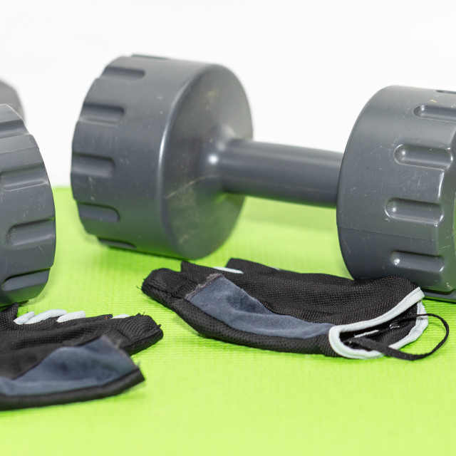 """""""Two Plastic Weights, Fitness Gloves, Weights 3"""" stock image"""