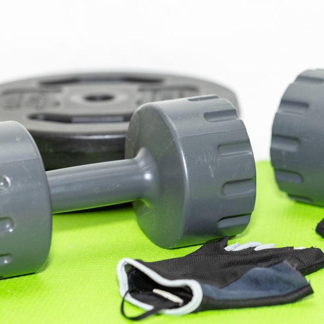 """""""Two Plastic Weights, Fitness Gloves, Weights 2"""" stock image"""