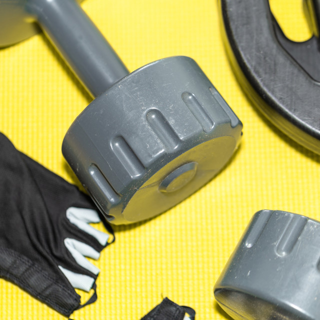 """""""Two Plastic Weights, Fitness Gloves, Weights 5"""" stock image"""