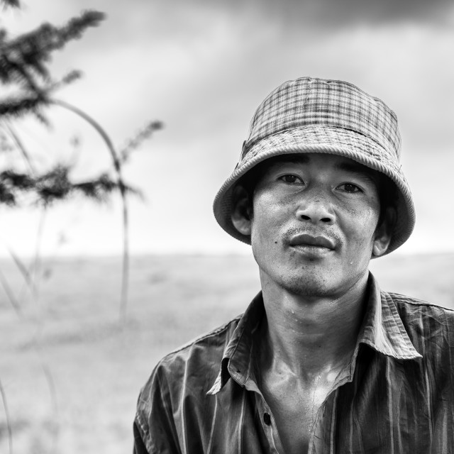 """Portrait of a cambodian farmer"" stock image"