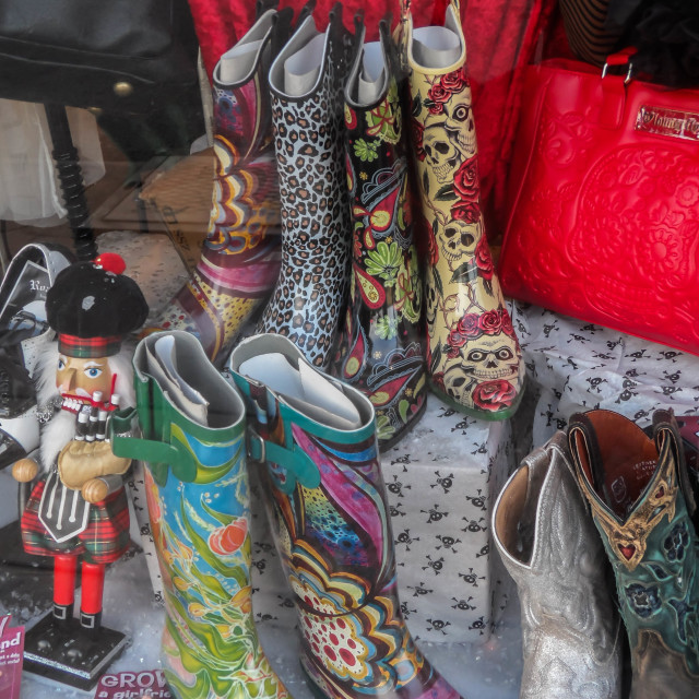 """Patterned Rain Boots"" stock image"
