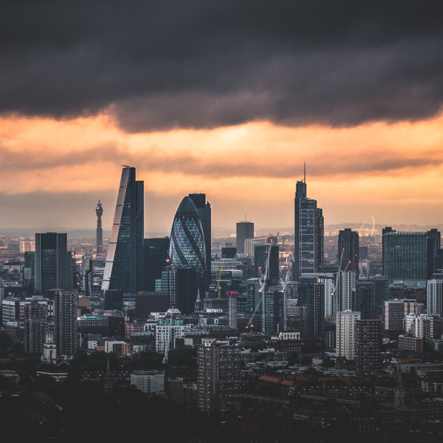 """London City Sunset"" stock image"