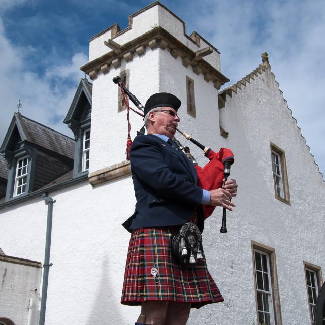 """scottish bagpipe at Blair Castle"" stock image"