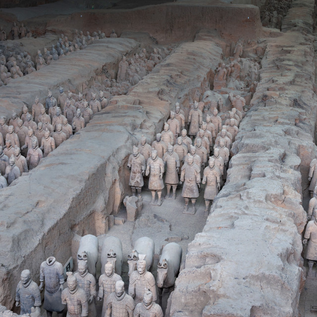"""Xian, China - August 6, 2012: Ranks of Terracotta Warriors near the city of Xian in China"" stock image"