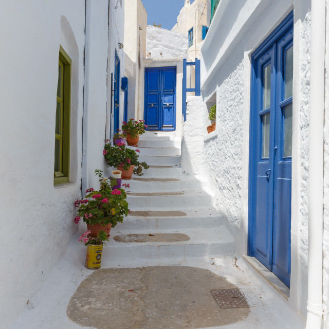 """""""View of Amorgos Chora town Streets"""" stock image"""