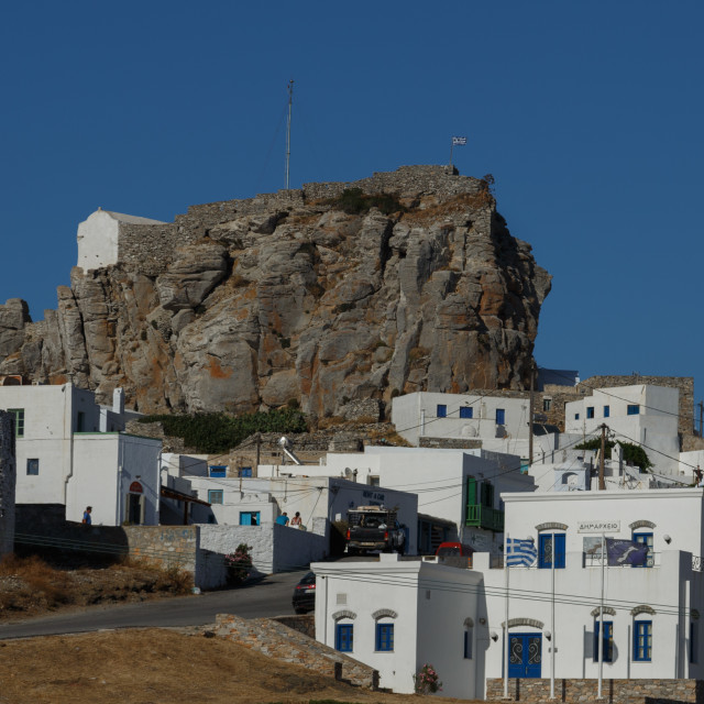 """""""View of Amorgos Chora and Castle stone"""" stock image"""