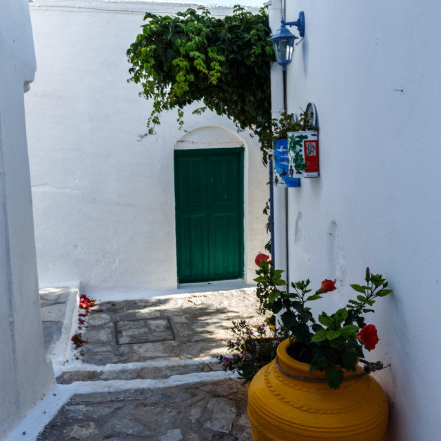 """""""View of Amorgos Chora Streets"""" stock image"""
