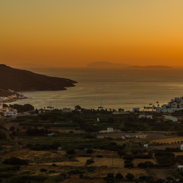 """Katapola, Amorgos Port during sunset"" stock image"