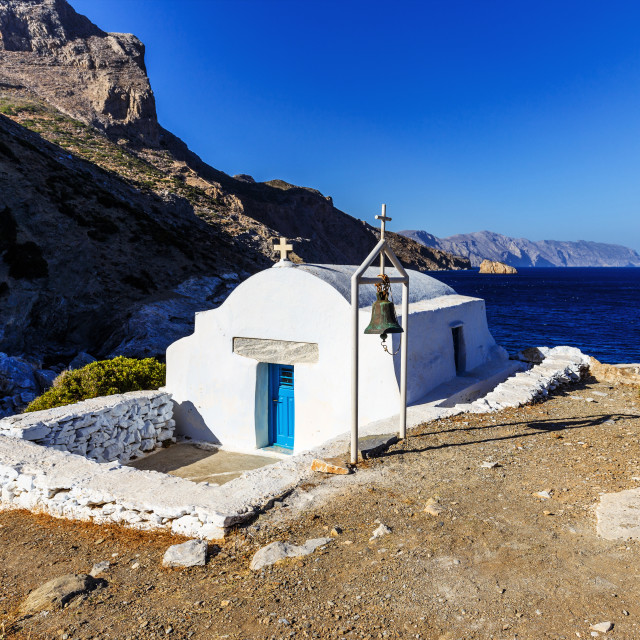 """Agia Anna Church at Amorgos Island Beach"" stock image"