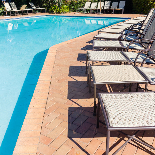 """""""Swimming Pool Benches Outdoors"""" stock image"""