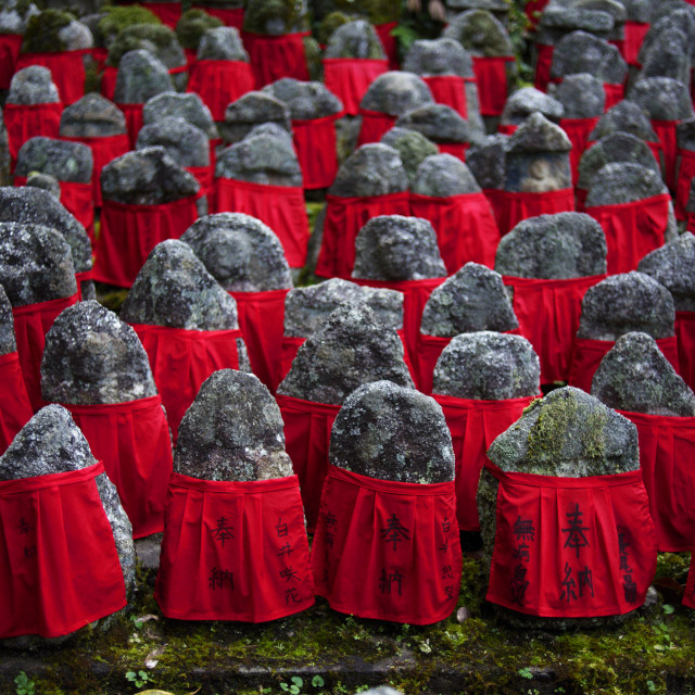 """Old jizo statues with red bibs, Risho-in temple, Kyoto."" stock image"