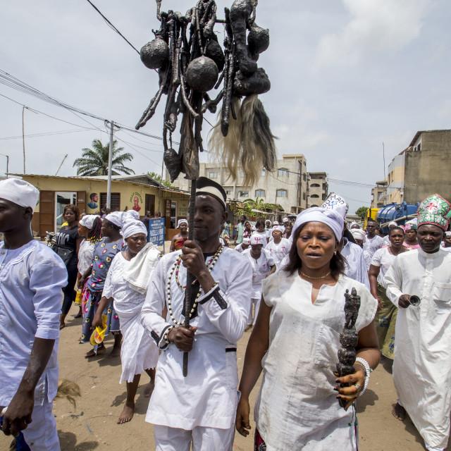 """Voodoo cult in Cotonou, Benin. Procession."" stock image"