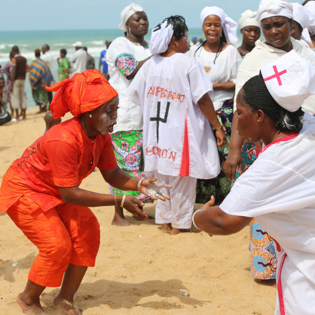 """Voodoo cult on a beach in Cotonou, Benin."" stock image"
