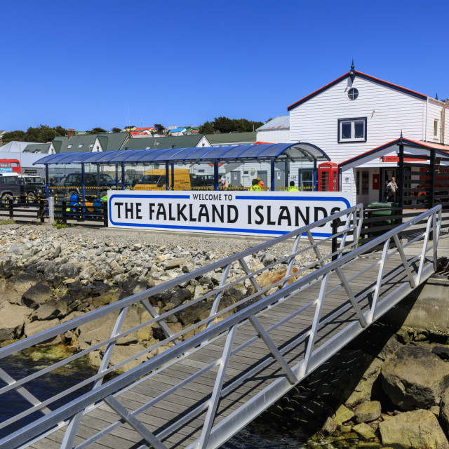"""Welcome to The Falkland Islands sign, Stanley Harbour, Port Stanley, Falkland..."" stock image"