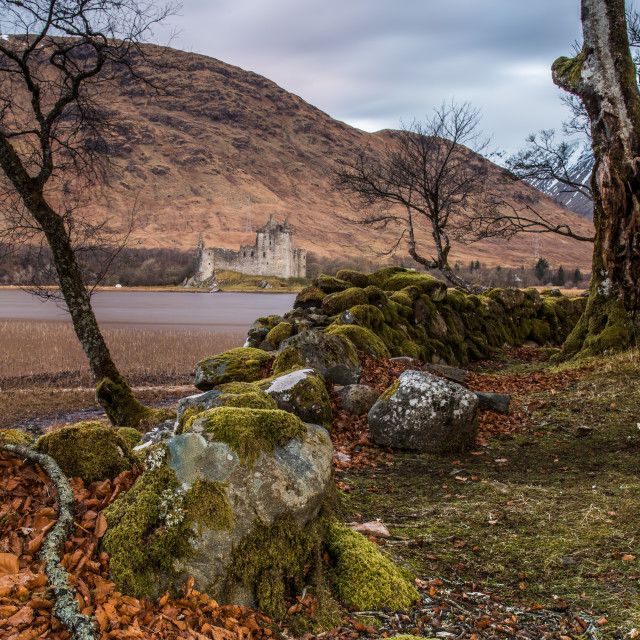 """Kilchurn Castle, built in 15th Century, is a ruined structure at the..."" stock image"