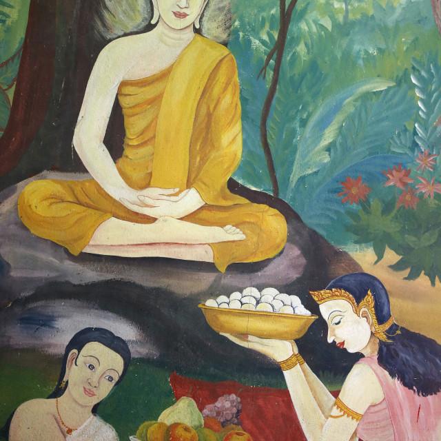 """Fresco in Wat Ampharam, Hua Hin. Food offerings to Buddha. Thailand"" stock image"