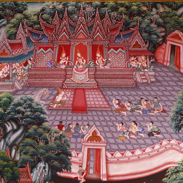 """Fresco in Wat Ampharam, Hua Hin, Thailand. Narada Jataka, one of the Buddha's..."" stock image"
