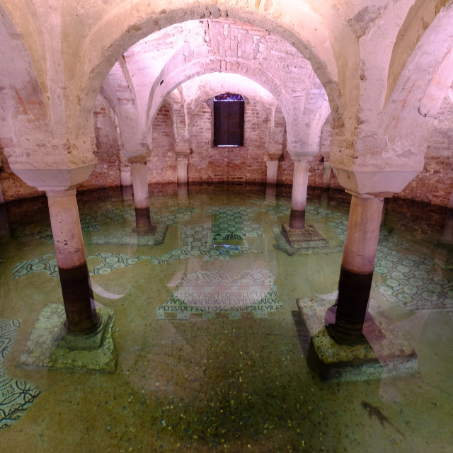 """The flooded crypt of the Basilica of San Francesco, Ravenna, Italy, Europe"" stock image"